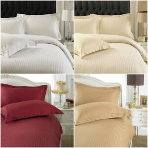 Satin-Stripe-Quilt-Duvet-Cover-with-Pillow-Case-250-Thread-Bedding-Set-All-Sizes