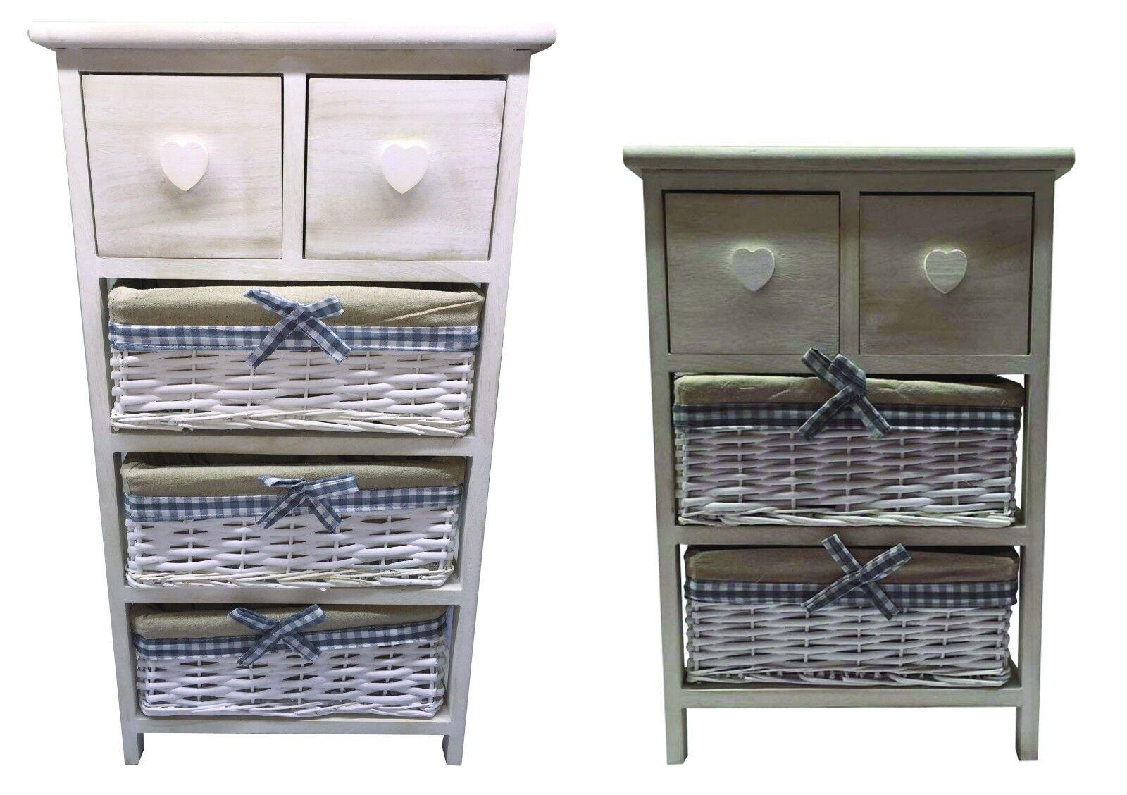 Storage Unit 3 4Tier Drawer Wood Organiser Maize Basket Drawers Bathroom Bedroom