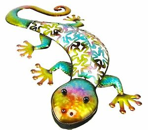 Image is loading 53cm-Colourful-Metal-Gecko-Wall-Art-Indoor-Outdoor-  sc 1 st  eBay & 53cm Colourful Metal Gecko Wall Art - Indoor/Outdoor Garden ...