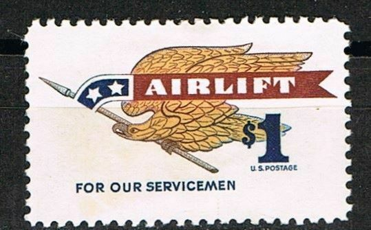 Jimace29 US #1341 Airlift Eagle of Holding Pennant. $1. Issue of 1968. MH.