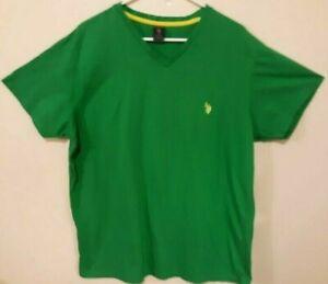 US-Polo-Vintage-Ralph-Lauren-Black-Label-V-neck-Mens-Green-W-Yellow-Logo-XL-EUC
