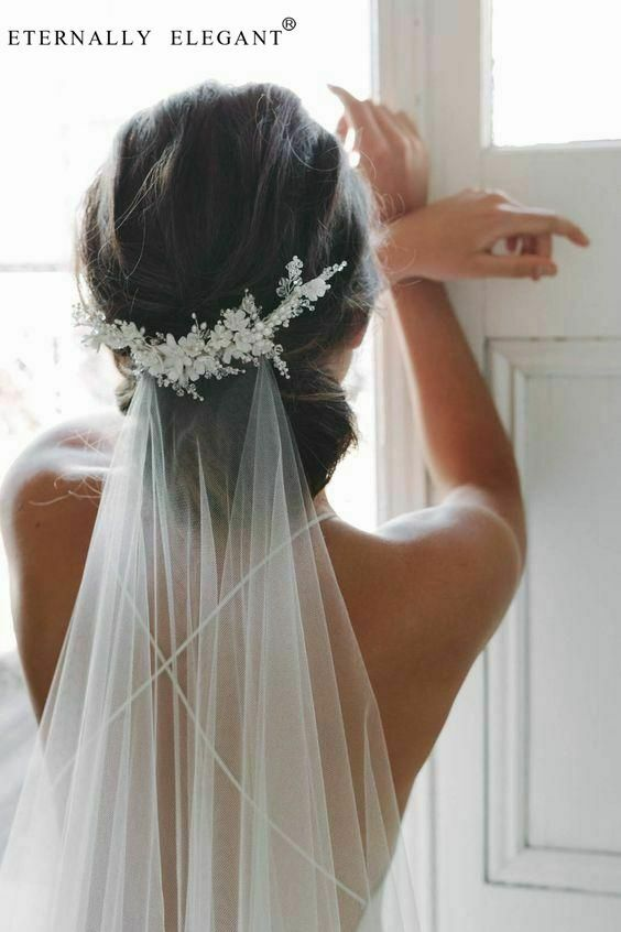2M 3M White/Ivory Appliqued Flowers Headwear Wedding Bridal Veil Long With Comb