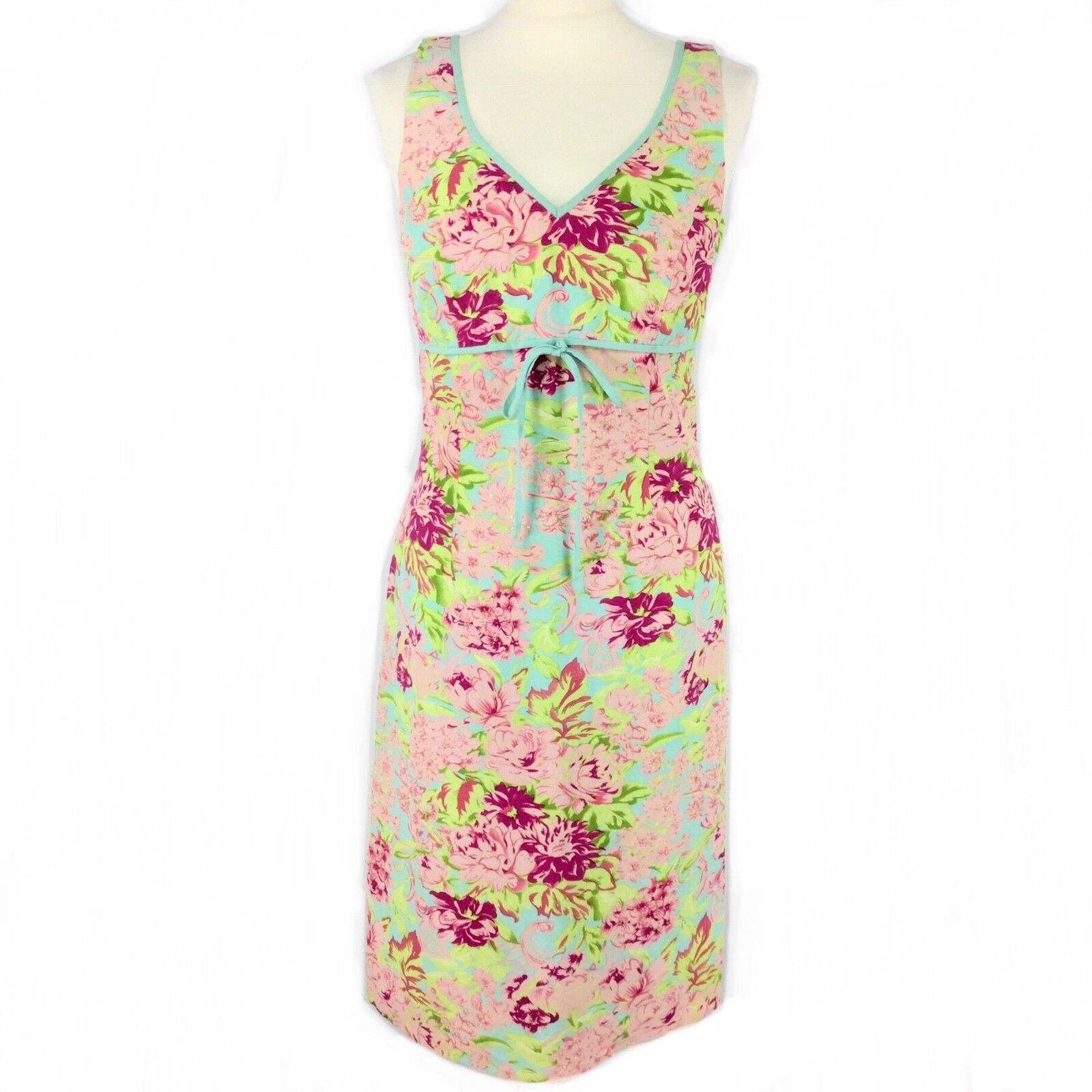 TINA TAYLOR Pink bluee Green Botanical Floral Beaded Silk Linen Shift Dress 12