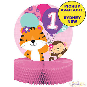 Image Is Loading JUNGLE ANIMALS GIRLS 1ST BIRTHDAY PARTY SUPPLIES TABLE