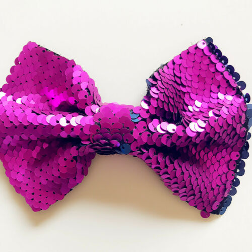 """Lovely Larg Bling Sparkly Glitter Sequins 5/"""" Hair Bows Alligator Clips For Party"""