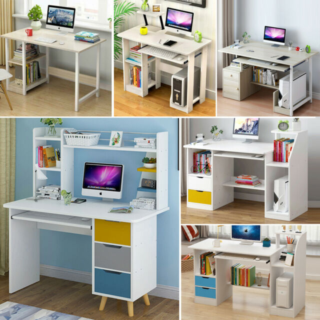 120CM Small Computer Desk Home Office PC Table Workstation Storage Shelves Unit