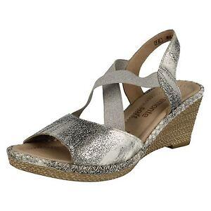 Donna Remonte D6732 ARGENTO/platino sandali con zeppa e lacci