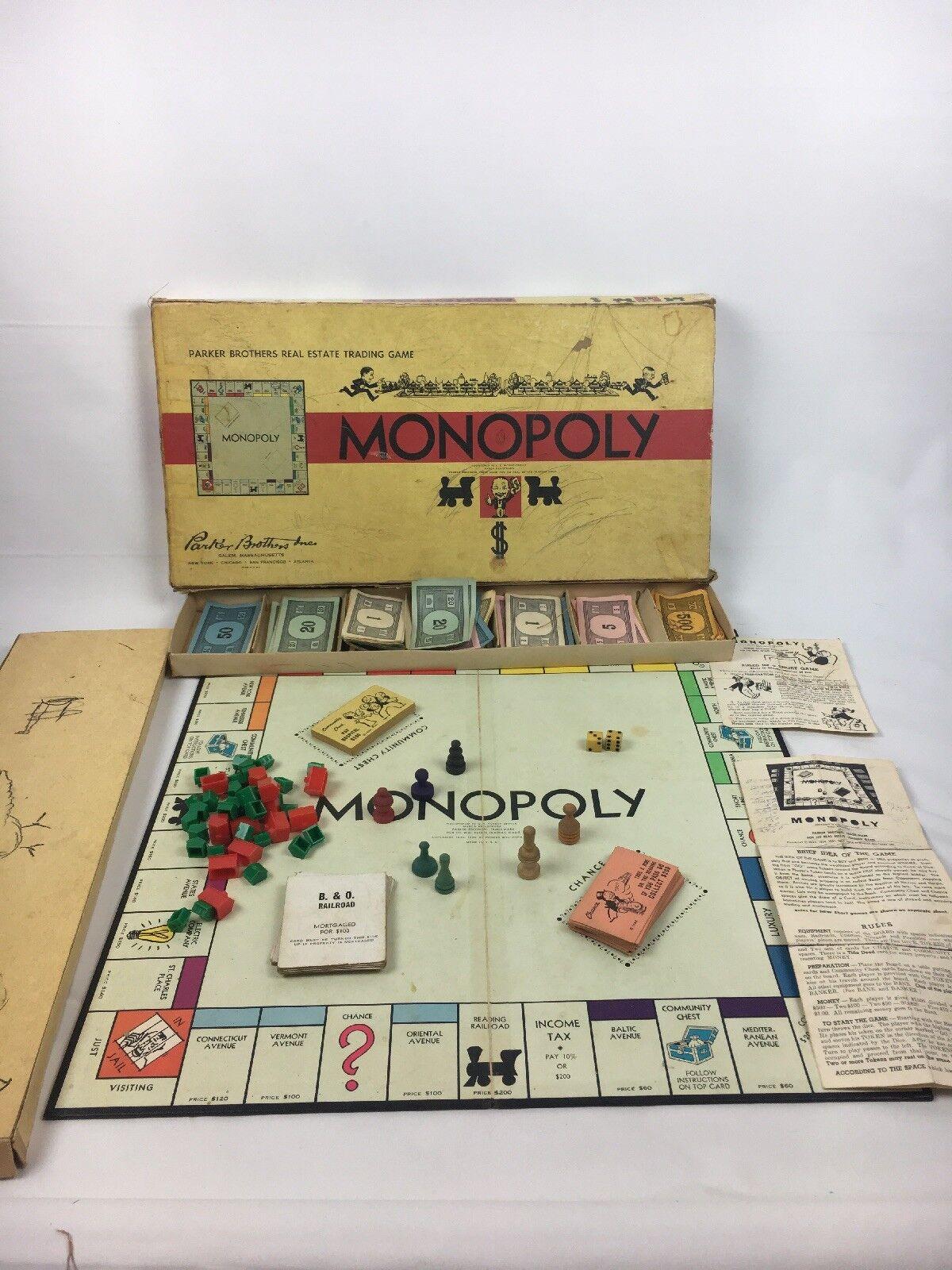 Jahrgang 1954 monopol alte brettspiel parker brothers einseitig geld holz - pcs