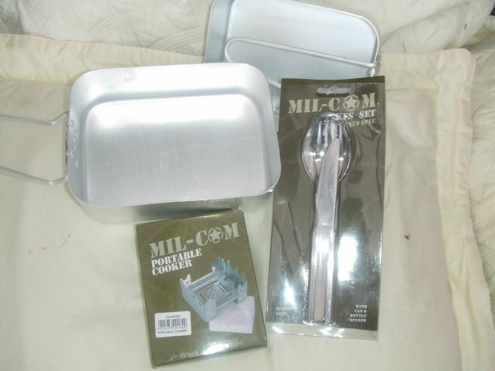 ARMY STYLE ALLOY MESS TIN PANS KFS CUTLERY CAMPING COOK SET HEXI COOKER & FUEL