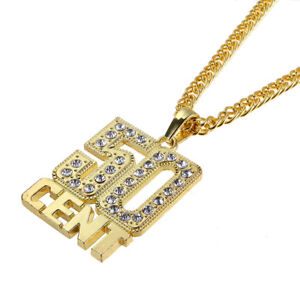 Hip Hop Gold Plated Rhinestone 50 CENT Pendant Unisex Necklace 29