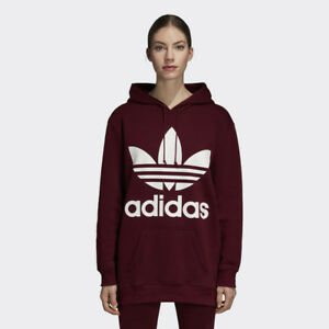 Details about New Adidas Original Womens OVERSIZE TREFOIL HOODIE MAROON DH3152 XS M TAKSE