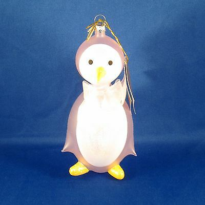 Pier 1 Imports - Baby's 1st Christmas 2014 Ornament - Pink Italian Glass Penguin