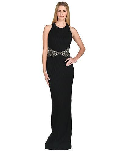 Nuevo  Badgley Mischka adornado tejido enCocherujado De Gasa Negra Con Cuentas Vestido de Gala Vestido Talla 6  890  ventas calientes
