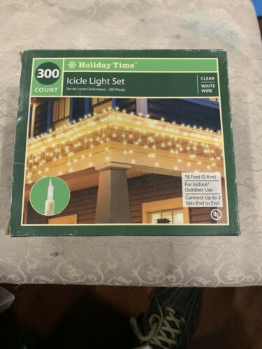 Clear Lights Holiday Time 300 Count Icicle Light Set 18 Ft.---White Wire