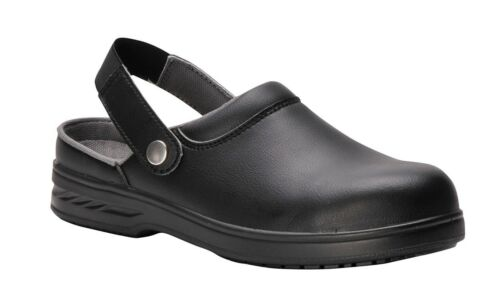 Safety Clogs Mens Womens Black or White slip on Shoes steel toecap clogs FW82