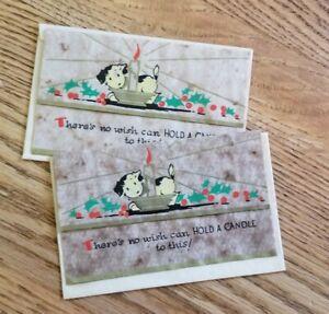 Vintage-Christmas-Card-Puppy-Vellum-set-of-2-cards-NOS