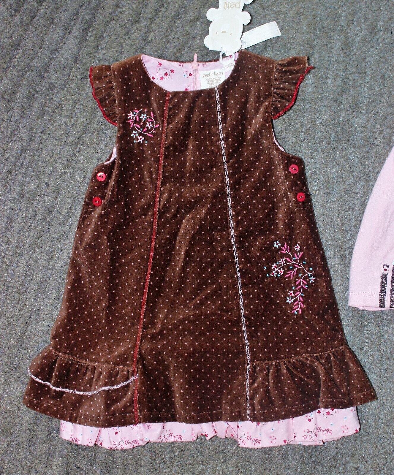 Grey Red 24M Petit Lem Sweater Dress and Tights 6M