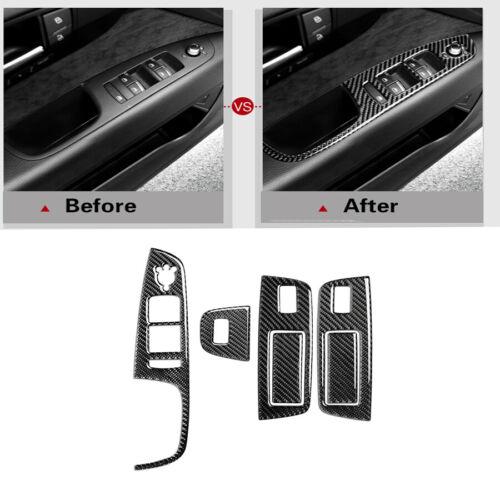 6Pcs Carbon Fiber Window Switch Button Panel Cover Trim For Audi Q7 2008-2015
