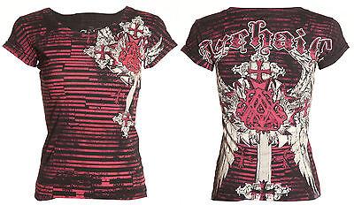 Archaic AFFLICTION Women T-Shirt VERWOOD Rhinestones Biker UFC Sinful S-XL $38 a