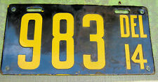 1914 Delaware License Plate Porcelain
