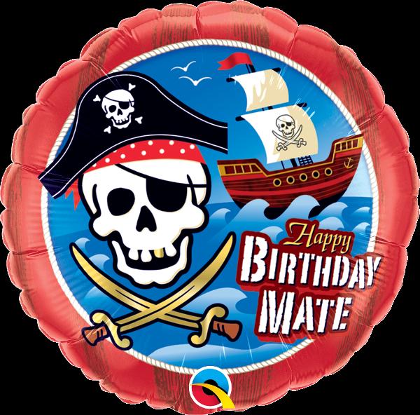 "QUALATEX - FOIL BALLOON  -46CM - ""HAPPY BIRTHDAY MATE"" PIRATE"