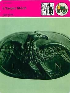 """FICHE CARD l'Empire Libéral 1860-1870 Aigle Bois Sculpté Napoléon III France 90s - France - PORT EUROPE GRATUIT A PARTIR DE 4 OBJETSBUY 4 ITEMS AND EUROPE SHIPPING IS FREE FICHE FRANCE ANNEES 90s ETAT VOIR PHOTO FORMAT 16 CM X 12 CM SIZE : 6.29 """" X 4.72 """" inch FICHE SCOLAIRE .7 - France"""