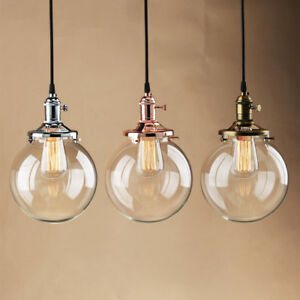 Details About 7 9 Plain Clear Gl Shade Vintage Pendant Light Ceiling Loft Lamp
