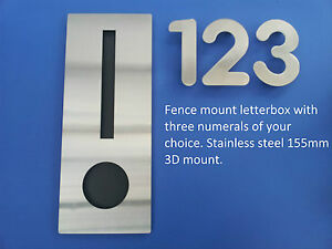 STAINLESS-STEEL-RECTANGLE-LETTERBOX-FENCE-WALL-MOUNT-BRICK-MAILBOX-3-NUMBERS