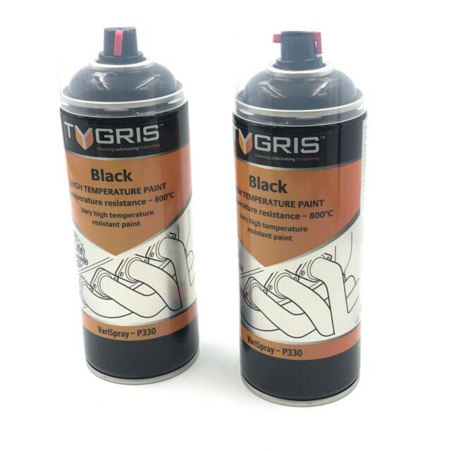 2x Tygris P330 Black Very High Temperature Paints Aerosol Paint 400ml Vari Spray