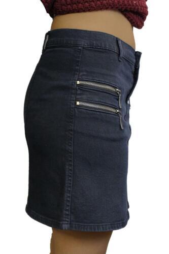 Womens Ladies Denim 4 Zip Pocket Dark Wash Pencil Short Mini Party Skirt 8-12