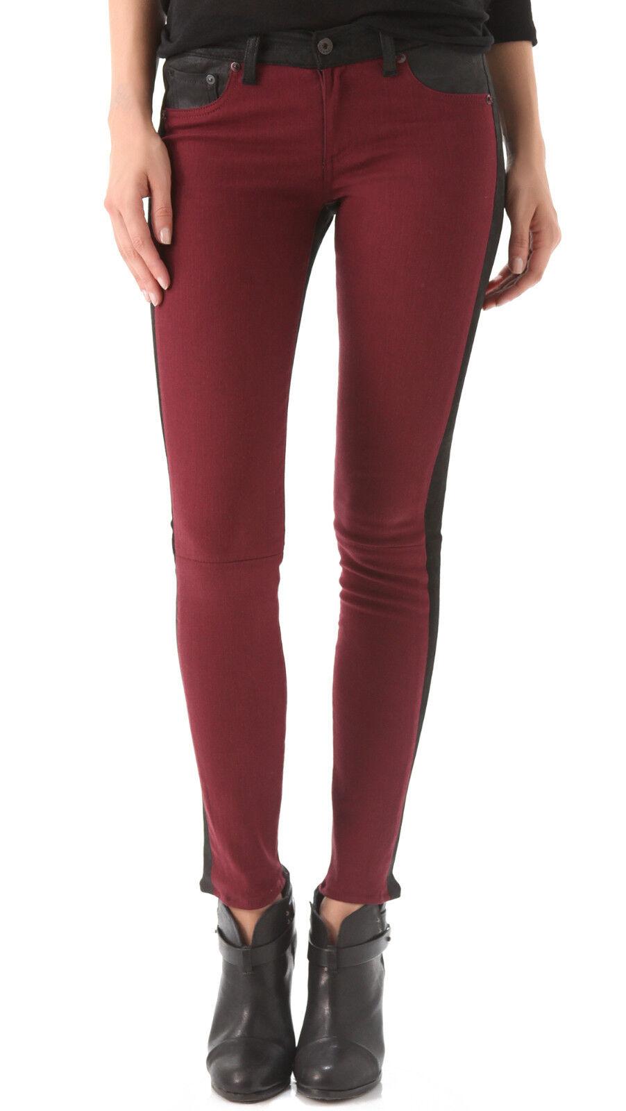 SZ 24 RAG OCH BONE Bourgogne Jekyll läder mocka Trim Legging Jeans Pants NWT  705