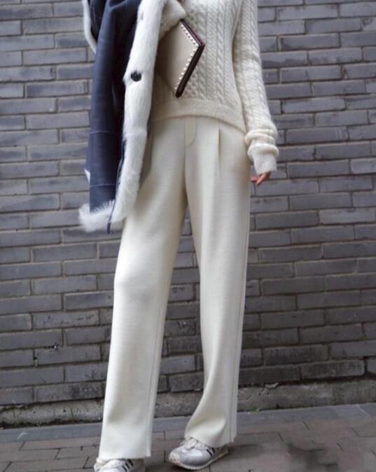 2019  Womens Designer Inspried Cashmere High Waist Flare Trousers