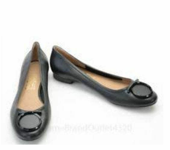 430 Ferragamo ENA Flat Black Patent Leather black 5 6  B  absolutely GORGEOUS