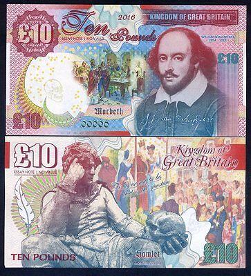 Great Britain, 10 pounds, 2016, Kamberra, UNC - Shakespeare, Hamlet, Macbeth