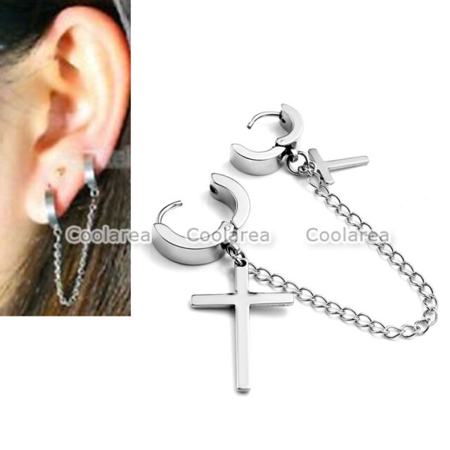 1pc Stainless Steel Cross Double Ear Cuff Ring Chain Earring Hoop Stud Piercing