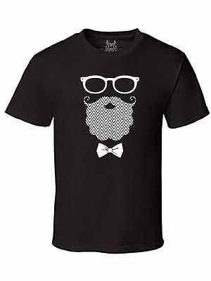 NEW MEN'S PRINTED GLASSES MUSTACHE BEARD BOW TIE HIPSTER GRAPHIC DESIGN T-SHIRT