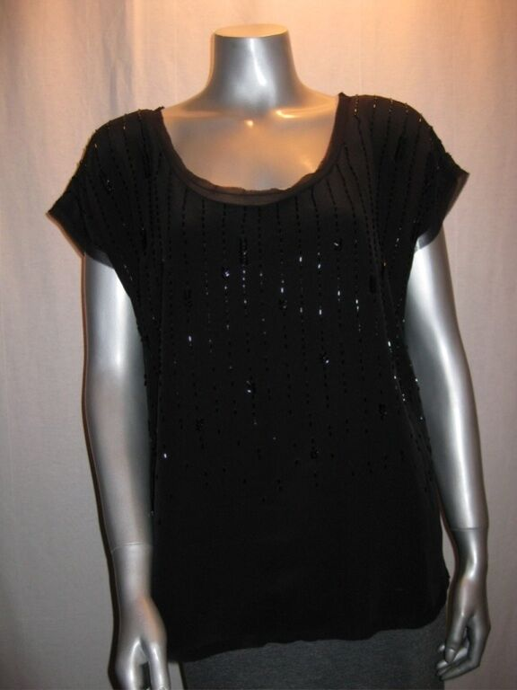 EILEEN FISHER Beaded schwarz Silk Cap Sleeve Blouse sz M NWT