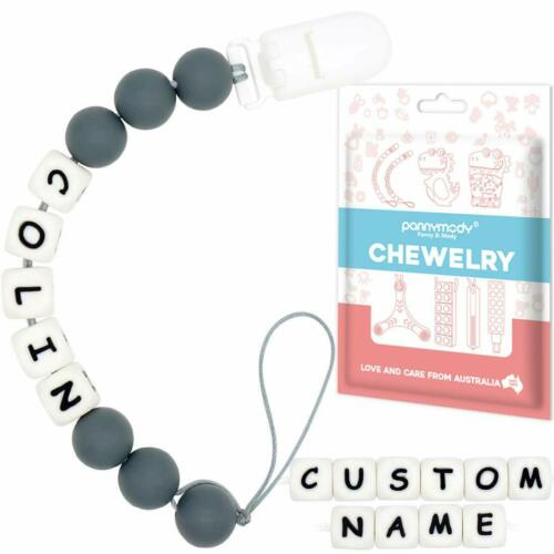 Panny /& Mody Personalised Dummy Clips  Customised Name Pacifier Clip Shower Gift