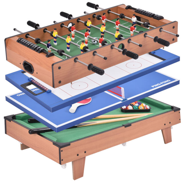 Merveilleux 4 In 1 Multi Game Hockey Tennis Football Pool Table Billiard Foosball Gift