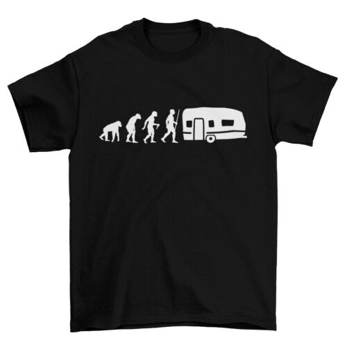 T-Shirt Herren Evolution Wohnwagen Camper Camping Outdoor Fun Spaß Geschenk Idee