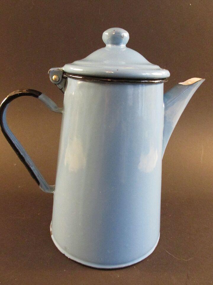 Emalje, Kaffe kande med låg. ca. 2 liter., Polsk emalje