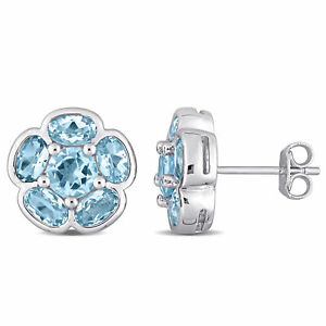 Amour Sterling Silver Sky Blue Topaz Stud Floral Earring