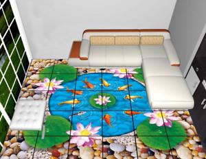 3D Lotus Stone Fish 4 Floor WallPaper Murals Wall Print 5D AJ WALLPAPER UK Lemon