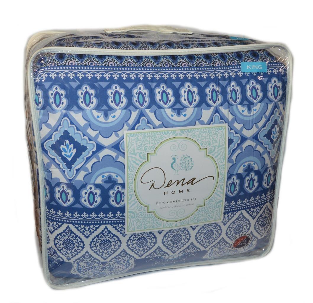 DENA HOME Aria Porcelain bluee Medallion 4PC KING COMFORTER SET NWT Shams Skirt