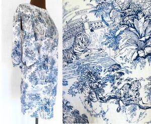 H&M 2 Blue White Toile Linen Blend Tropical Tie Slit Sleeve Dress Beach Cover Up
