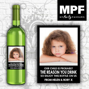 Personalised Photo Wine Bottle Label (Reason you drink) - Teacher Thank you Gift