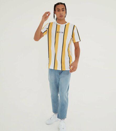 Nicce Mens Stripe T-Shirt-Apricot//White