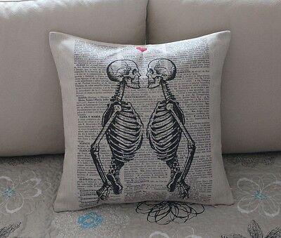 Vintage Skeleton Skull Cotton Linen Throw Pillow Cushion Cover Home Decor Z573
