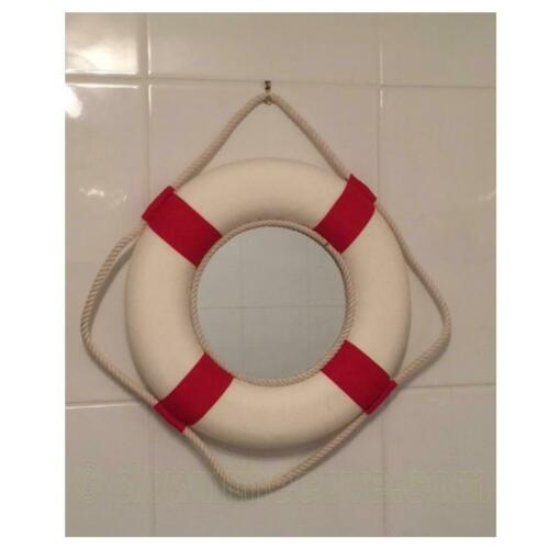 Ideal for Bathroom 1st Class Post! Round Life Ring Nautical Mirror Red or Blue