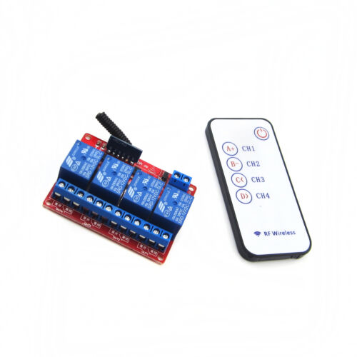 12V 4 CH Relay Wireless Module Remote Control Lamp LED Remote Controller Switch